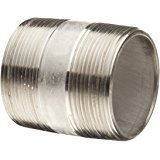 "Stainless Steel 304/304L Pipe Fitting, Close Nipple, Schedule 40 Seamless, 1/2"" NPT Male, 1-1/8"" Length"