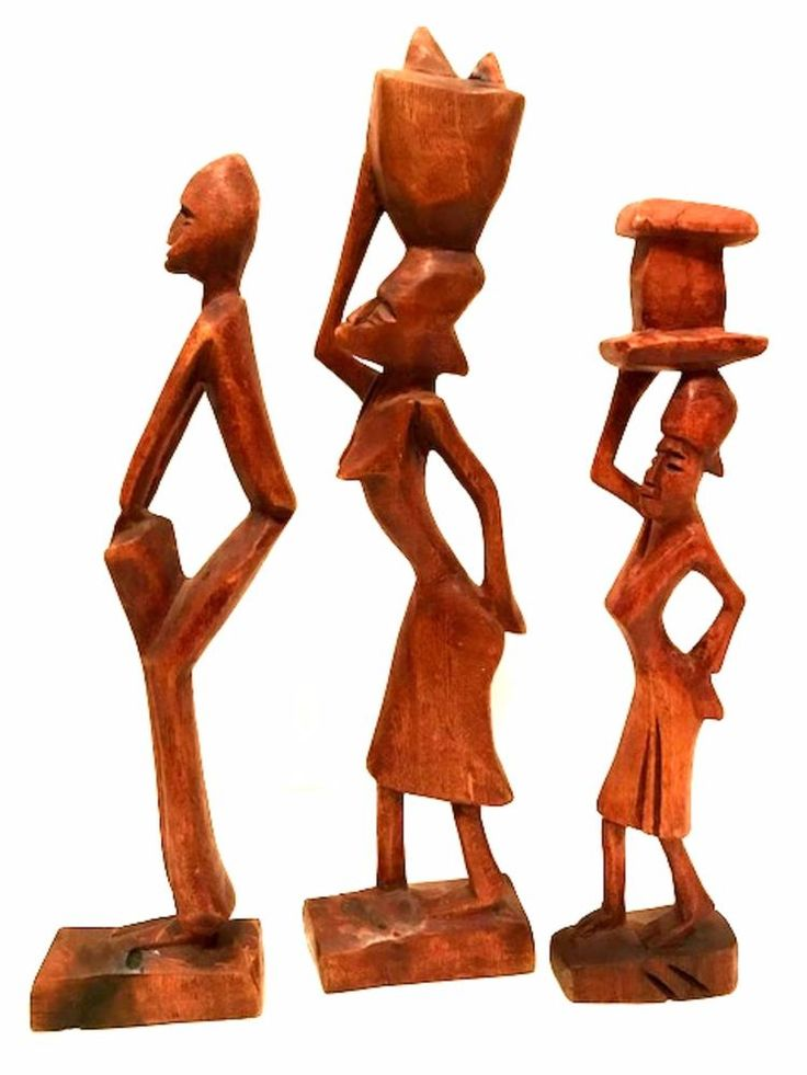 "Haitian or African Wooden Figurines Hand Carved Tribal Art Sculptures 12"" Tall"