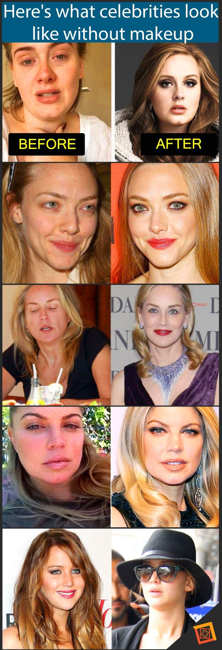 Top 20 Shocking Photos Of Hollywood Celebrities Without Makeup