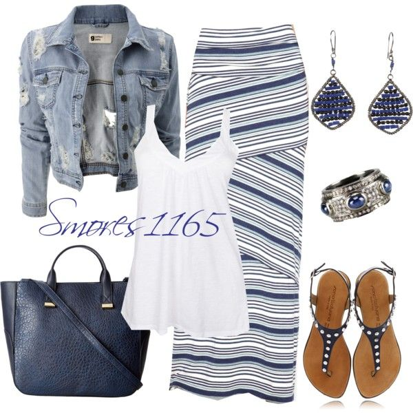 """""""Blue Striped Maxi"""" by smores1165 on Polyvore"""