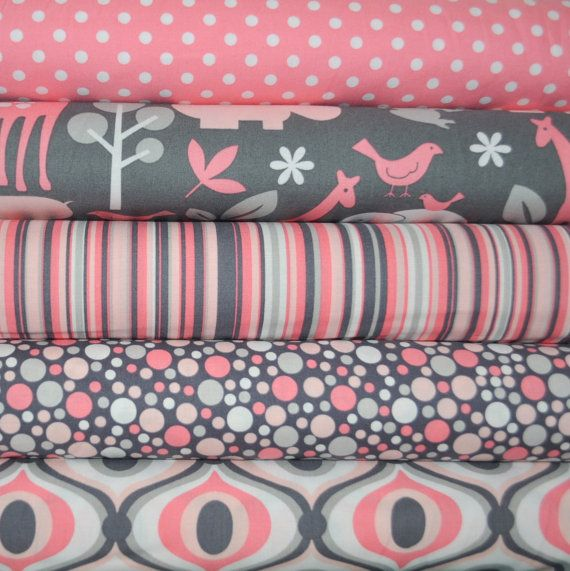 The fabric line for Michael Miller is a wonderful collection in gray and pink, with a little white. There are lots of dots, geometrics and