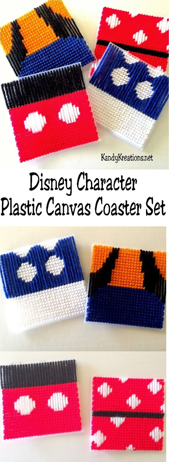 Create fun coaster sets of your favorite Disney characters with these free plastic canvas patterns. You can make Mickey, Minnie, Donald, and Goofy a part of your home, Disney party, or as gifts for the Disney fan in your life.