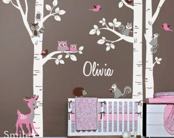 17 best ideas about birch tree mural on pinterest babies for Collant mural hibou