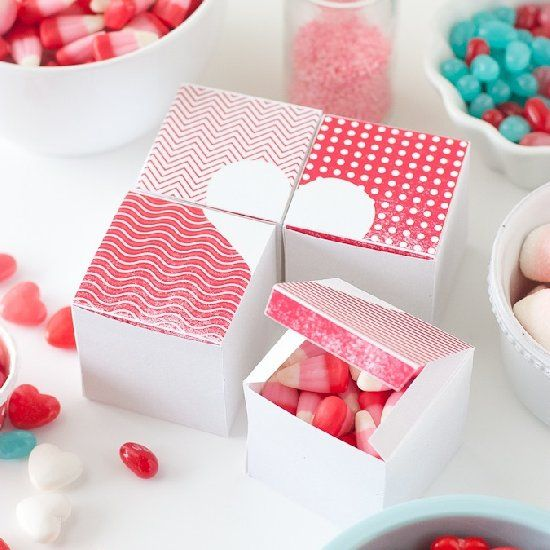 These free printable heart boxes come in a set of four, that when pieced together, create a heart!