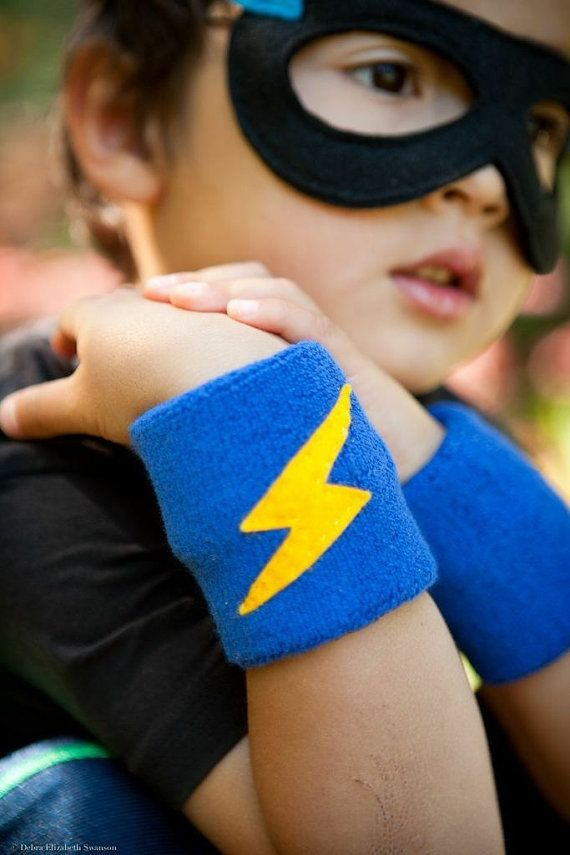 "One Pair 3"" Super Hero Sweat Bands, Wrist Bands, Wrist Cuffs. Handmade for Boys, GIRLS, MEN or WOMEN. Great Accessory for Super Hero Cape."