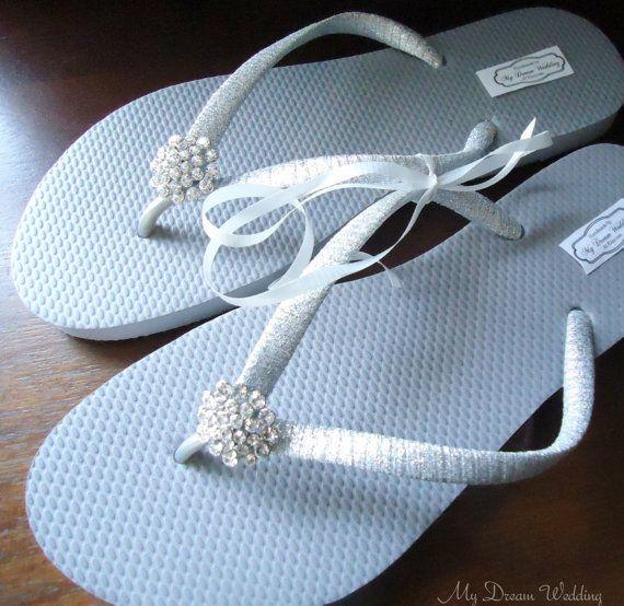 ON SALE Silver Flip Flops w/ silver ribbon.CZ by MyDreamWedding