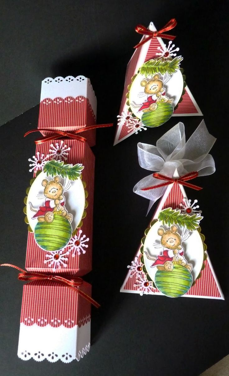 Cracker, Gift Box and Card using image from Crafter's Companion 'Makey Bakey' Mice. Cracker made from Envelope Punch Board
