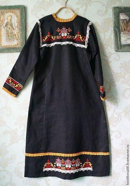 """""""Родные мотивы"""" - платье,русский стиль,русский народный костюм,вышивка"""