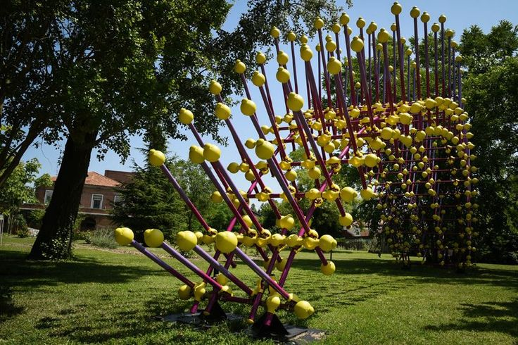 """Like a spiny but intriguing """"Sea Urchin"""" this unusual urban sculpture installation designed by the architect Giancarlo Zema, is realized using 150 stainless steel tubes and related plastic joints. An artwork born as a symbol of a new reconstruction of the city dedicated to the renovation and the eco-sustainability, installed at the Venice Architecture Biennial 2016. #Installation #PublicArt #SteelArt #BiennaleVenezia #SpazioThetis"""