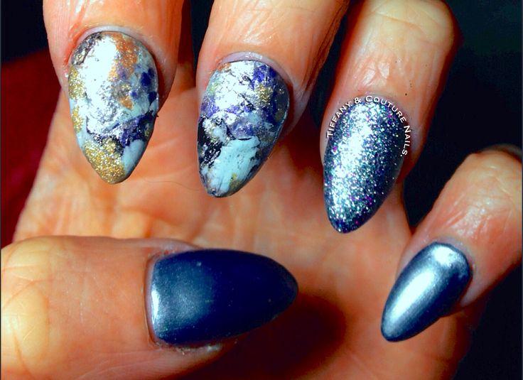 Splatter Feature Nails & Blue Steel Chrome Acrylic Mani :).