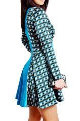 Turkusowa jedwabno-satynowa sukienka mini