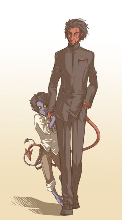 a kid version of Nightcrawler with Azazel . Is this the cool new thing to draw? If so, I have to find more!