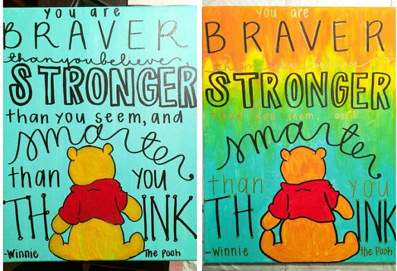 Hand Painted Winnie The Pooh Quote Canvas By MissMeraki On