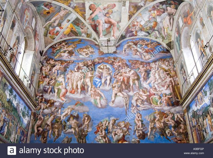 The Last Judgment by Michelangelo on the wall of the Sistine ...
