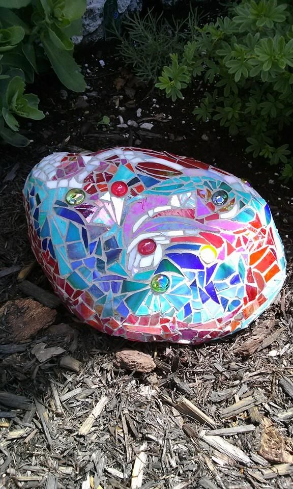 "Mosaic on a rock.  Michelle laughed when I called this one ""the whale"".  It's all in the eye of the beholder, right??? See my sister's work at: https://www.pinterest.com/eyelang/completed-projects/"