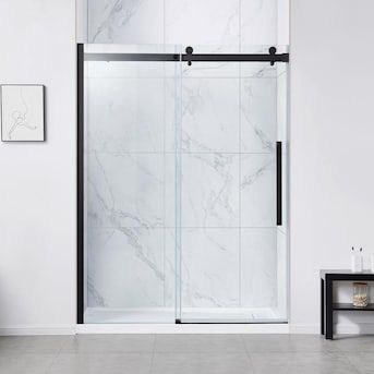 Ove Decors Bel Soft Close 78 75 In H X 58 2 In To 60 In W Frameless Bypass Sliding Matte Black Shower Door Clear Glass Lowes Com In 2020 Shower Doors Black Shower Doors Black Shower