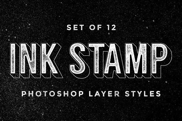 Ink Stamp Photoshop layer styles by MiksKS on @creativemarket