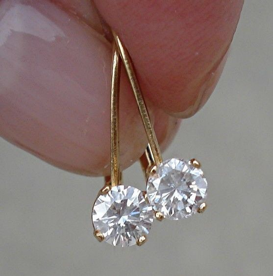 1/2 Carat Diamond Earrings - Solitaire Leverback Drop 14K Yellow Gold