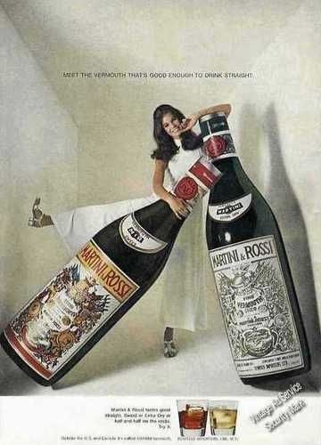 1969 Martini & Rossi Vermouth Very Large Bottles Ad