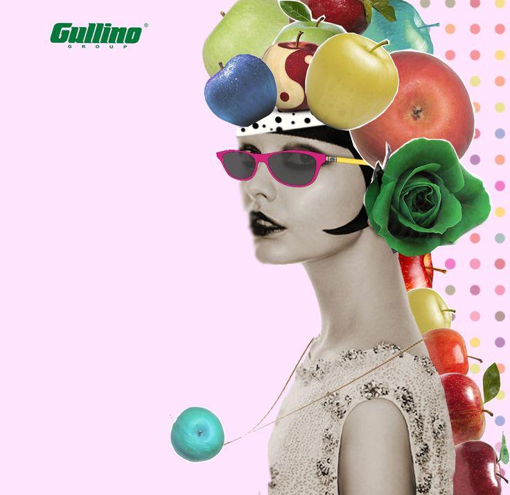 Fresca e giovane con la #mela #biologica di #Gullino #fruits #collage #arte #grafica #apple #kiwi #frutta #Italia #saluzzo #cuneo #export #import