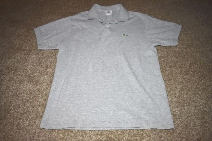 Lacoste Mens Polo Shirt Heathered Gray W/ Alligator Logo Size 5 Medium M #Lacoste #PoloRugby