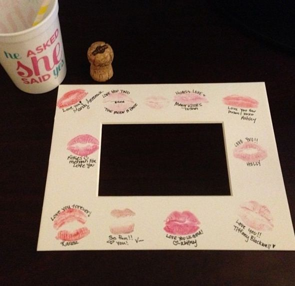 how cute... everyone kiss the frame and leave a signature then add a picture from the bachelorette party!