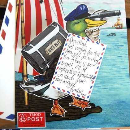 The pirate duck delivers messages by sea. Don't worry his post pack is waterproof.