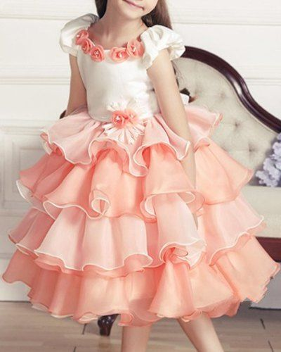 Stylish Flower Embellished Multi-Layered Cap Sleeve Princess Dress For Girl