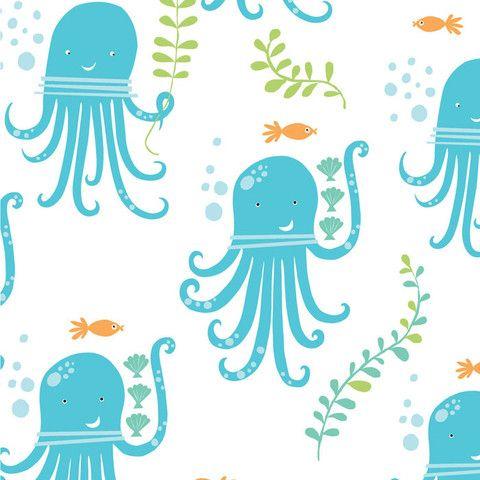 Tela infantil 100% algodón orgánico de primera calidad de Monaluna (USA). Simpáticos pulpos azules felices en el mar. Ancho 110 cm. El patrón se repite cada 30,3 x30,1 cm. (an. x al.). El pulpo que sujeta un alga mide 9 cm de alto. Es ligera, ideal para patchwork, confección, decoración y otros proyectos de costura.