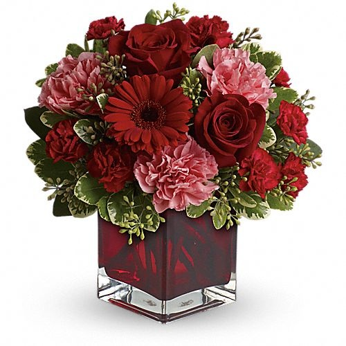 Hoping to be together forever? Whether youd like to send a message of love to a favorite beau, best friend or family member, this charming, crimson-hued bouquet - delivered in a special cube vase - will be a lovely sentiment of your affection.