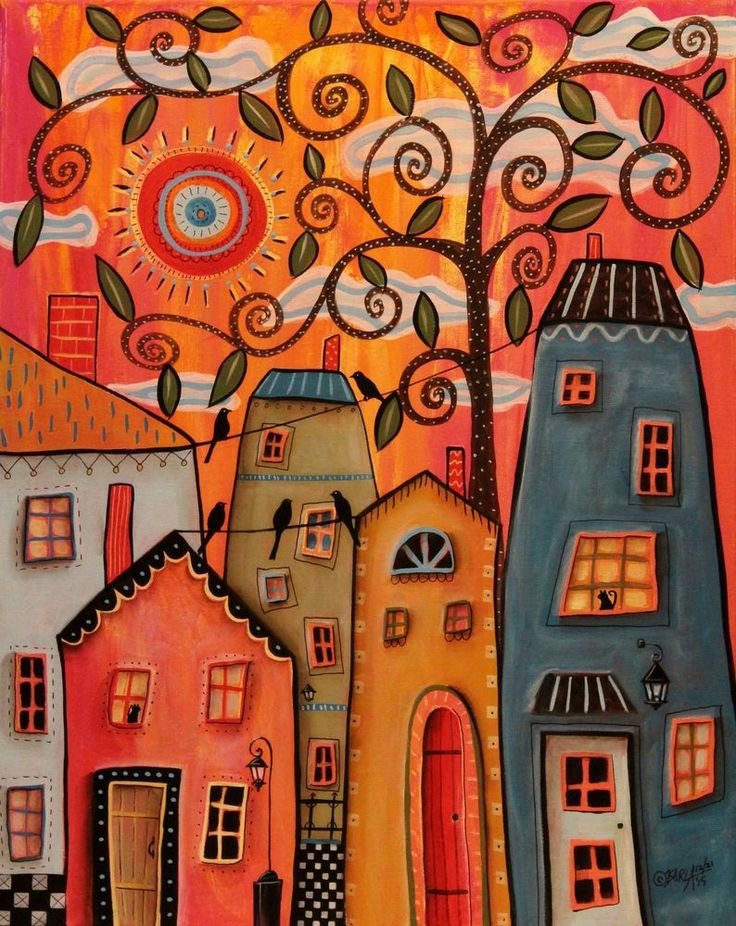 One Afternoon ORIGINAL CANVAS PAINTING 16x20 inch FOLK ART Houses Cats Karla G #FolkArtAbstractPrimitive