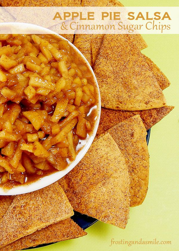 Warm apple pie salsa makes the perfect dip for homemade cinnamon-sugar chips.