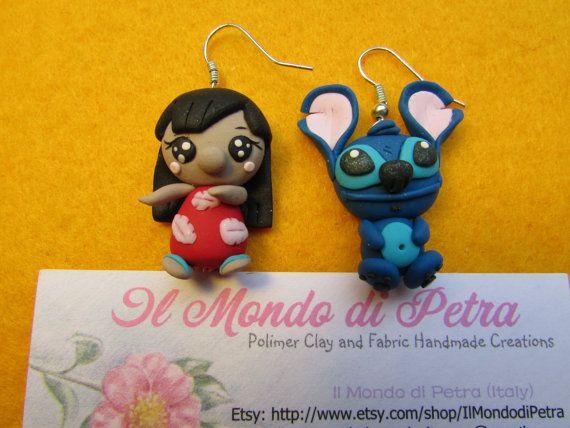 Lilo and Stitck Walt Disney Kawaii Earrings Polymer Clay