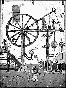 {Illustrator} William Heath Robinson wacky and wonderful inventive inventions.