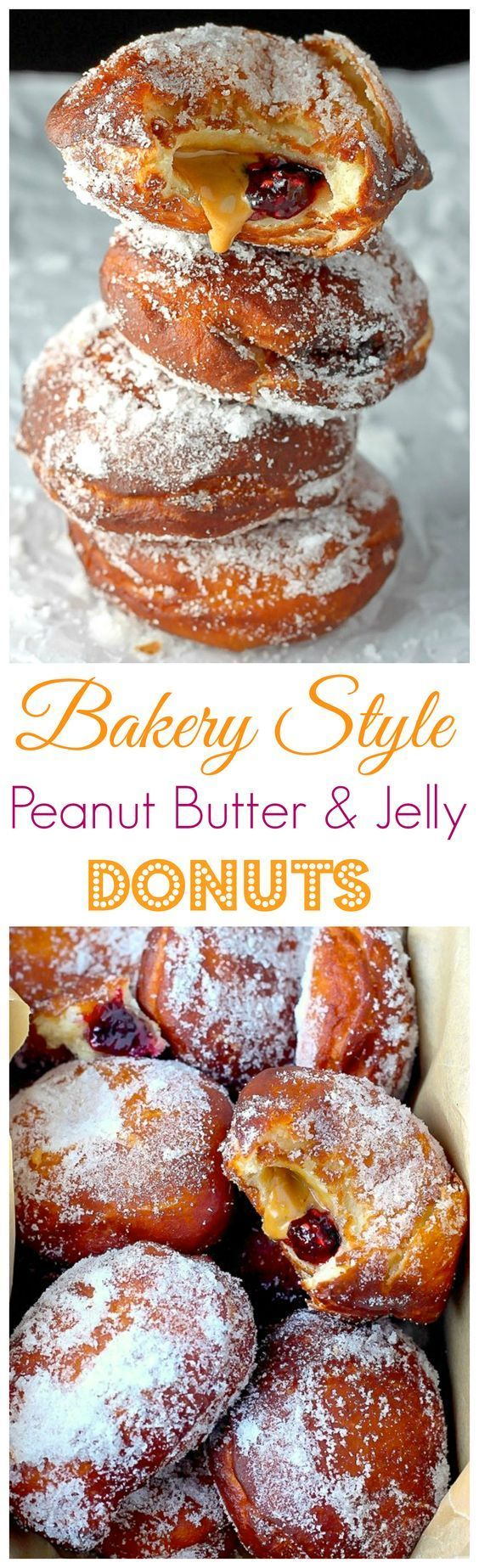 Bakery Style Peanut Butter and Jelly Doughnuts - Soft, fluffy, and stuffed with peanut butter and jelly - these bakery style doughnuts are a classic!