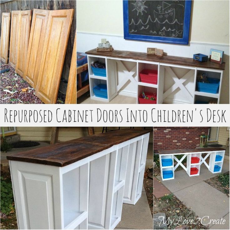 DIY Repurposed Cabinet Doors into Children's Desk