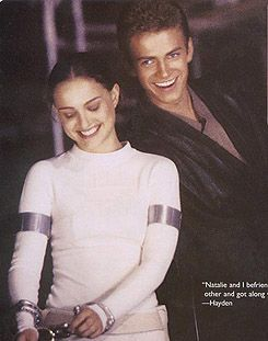 Star Wars episode 2 behind the scenes,Natalie and Hayden. :)