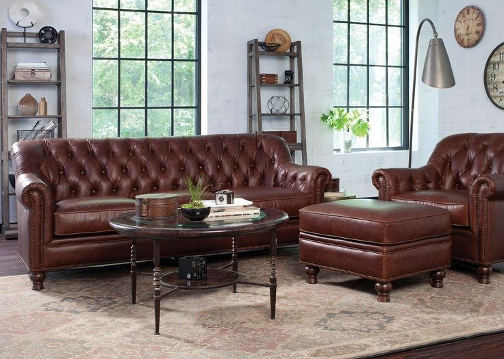 Brown Leather Chesterfield Button Tufted   Leather Sofas   Sofas   Living  Room