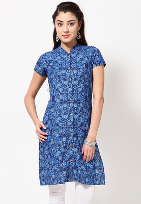 Blue coloured, printed kurta for women by Folklore. Crafted from cotton, this knee-length kurta has short sleeves and a mandarin collar with a buttoned placket. It comes in regular fit. In Just Rs. 599