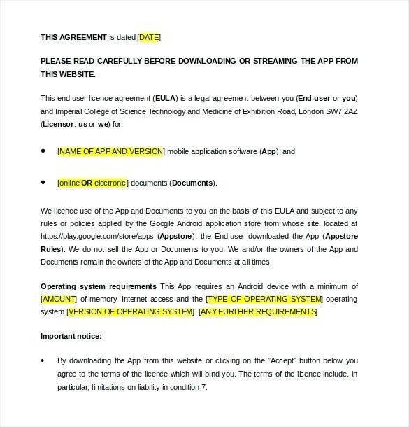End User License Agreement Template And License Agreement