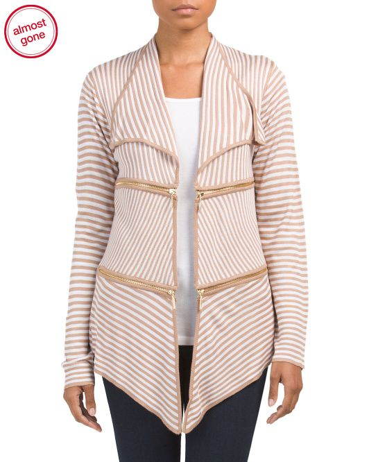 Stripe+Cardigan+With+Zipper+Detail