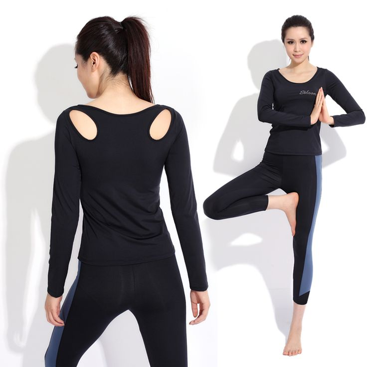 Yoga clothes set long-sleeve workout clothes autumn and winter aerobics clothing female tights 11837(China (Mainland))
