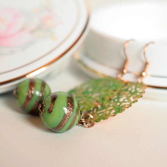 Green Apple Lace Earrings  Hand painted copper by DreamsCorner, €25.00 https://www.etsy.com/listing/173130953/green-apple-lace-earrings-hand-painted