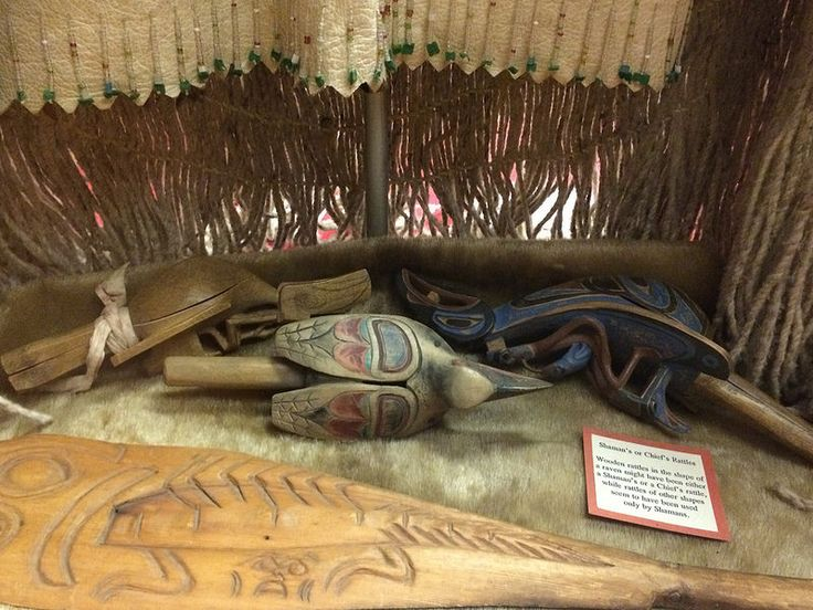 Tlingit, Haida, or Kwakuitl ceremonial carved rattles from British Columbia and Alaska in the End of the Trail Museum in Klamath, California (just across the Oregon state line). Native American Art.