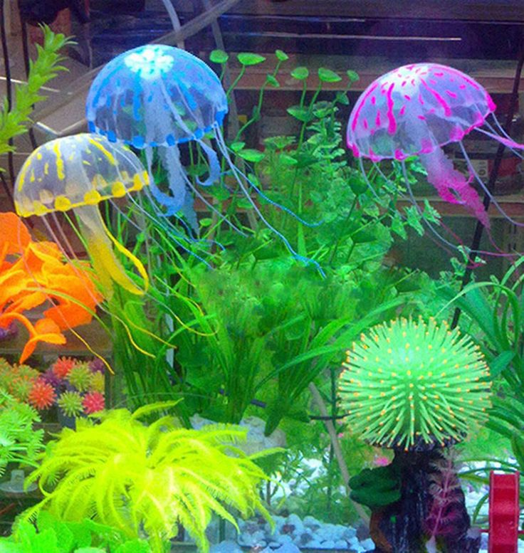 New Kecantikan Fluorescent Glowing Effect Jellyfish Aquarium Ornament Swim Renang Decor LY2