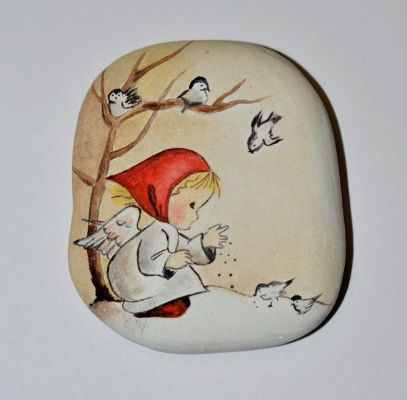 Painted stone sasso dipinto a mano. Vintage angel от OceanomareArt