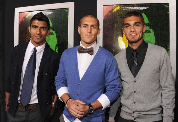 """Premiere Of Magnolia Picture's """"Marley"""" - Red Carpet - A.J. Delagarza, Bryan Jordan and Hector Jimenez arrive for the premiere."""