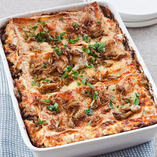 This earthy, meaty lasagna uses merguez lamb sausage, as well as mushrooms and truffled pecorino cheese.