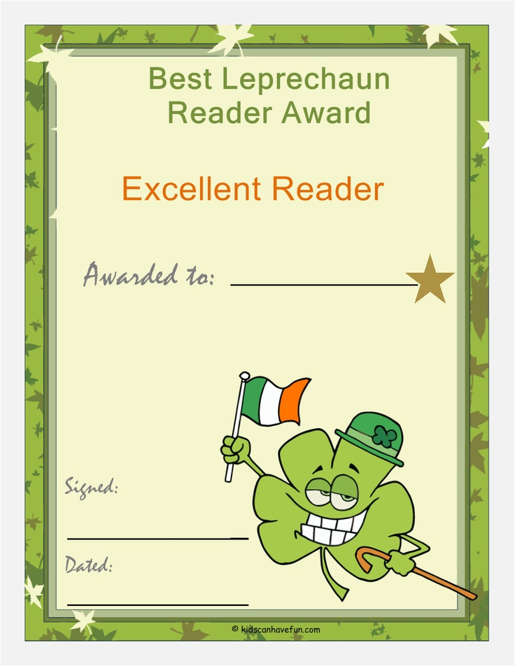 Patrick Day Best Leprechaun Reader Award