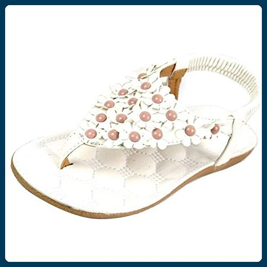 Minetom Damen Maedchen Böhmen Blumen Korn Flip Flop Schuhe Flache Sandalen ( Weiß EU 39 ) - Sandalen für frauen (*Partner-Link)
